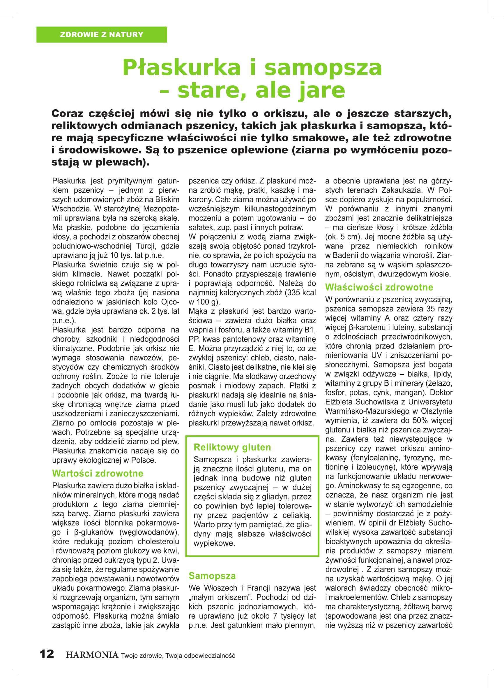 samopsza i płaskurka - artykuł z czasopisma Harmonia